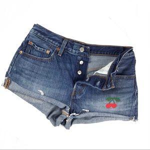 Levi's 501 Denim Cut Off Jean Shorts Cherry Patch